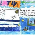 Child's drawing of water cycle